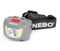 DUO Headlamp - The NEBO® DUO Headlamp is an all-powerful, hands-free lighting solution. The push button on/off button allows you to easily cycle through the FOUR light modes: one white LED (250 Lumens), 2 C•O•B strips (80 Lumens) or 2 RED C•O•B strips in steady or beacon mode. The red LED is a low-signature light, which ensures stealth in the dark, enhances night vision and makes reading in little to no light possible. The light from the 250-lumen power LED has a spot beam distance of 122 meters. Its signature 2 strip C•O•B design fully illuminates your immediate area with its wide flood beam. The DUO Headlamp is tough, reliable, lightweight and completely shock-proof.